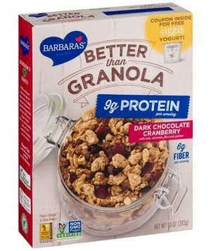 Many options in this category use tough, freeze-dried berries. This medley of multigrain wheat squares, sliced almonds, and oats includes plump dried cranberries instead—plus 70 percent cacao dark chocolate curls. Bonus: It contains nearly double the protein of many other granolas on the market.