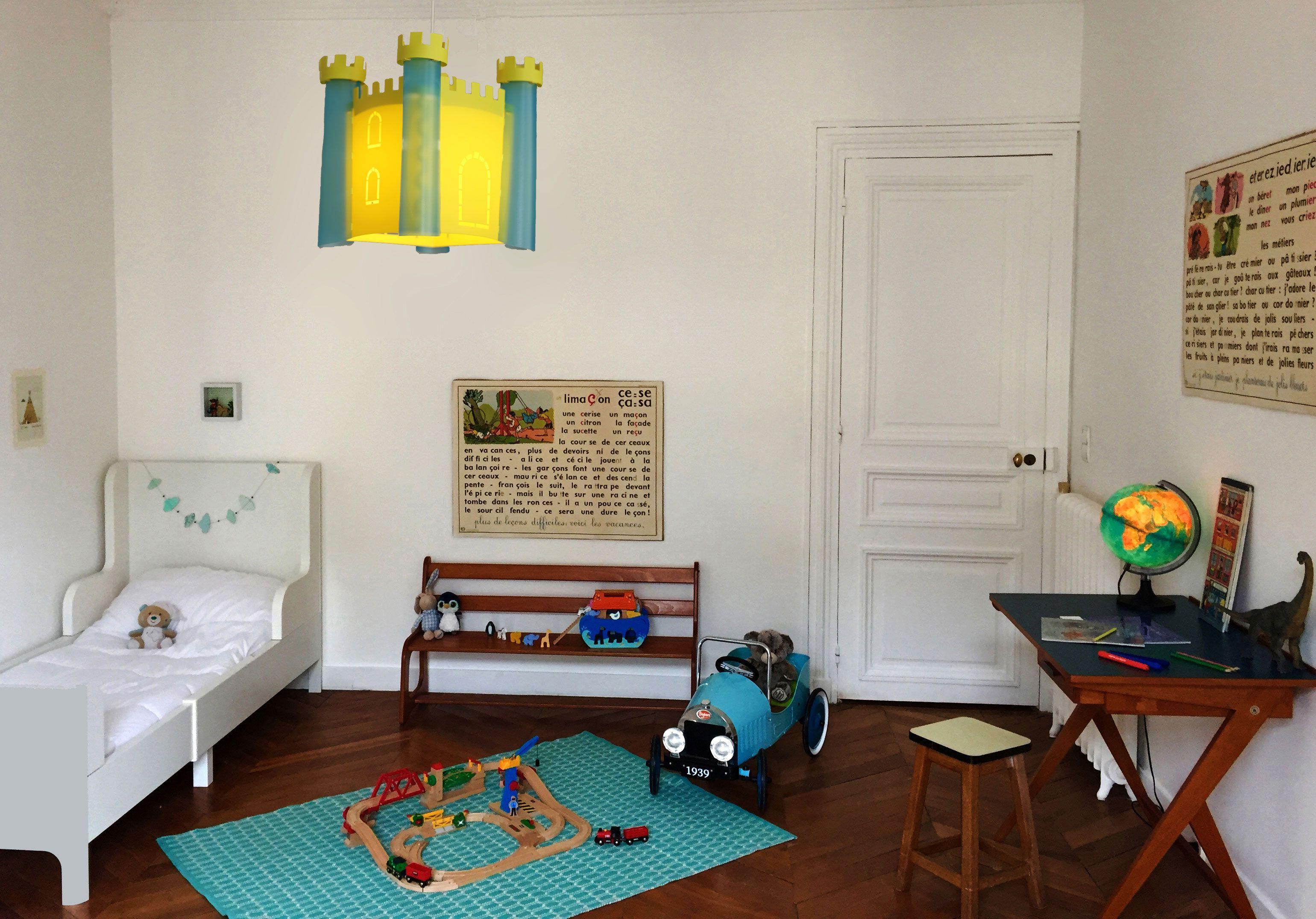 Lampe Suspension Enfant Chateau Fort Bleu Turquoise Et Genet