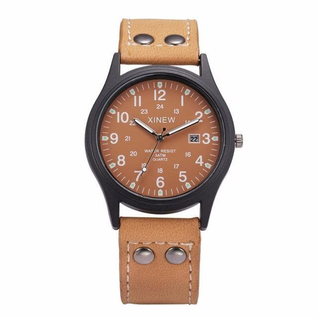 17d9c82c240 XINEW Men Watches relogio masculino Classic Men s Waterproof Date Leather  Strap Sport Quartz Army Watch Men Cool montre homme