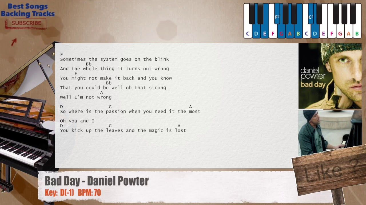 Bad Day Daniel Powter Piano Backing Track With Chords And Lyrics