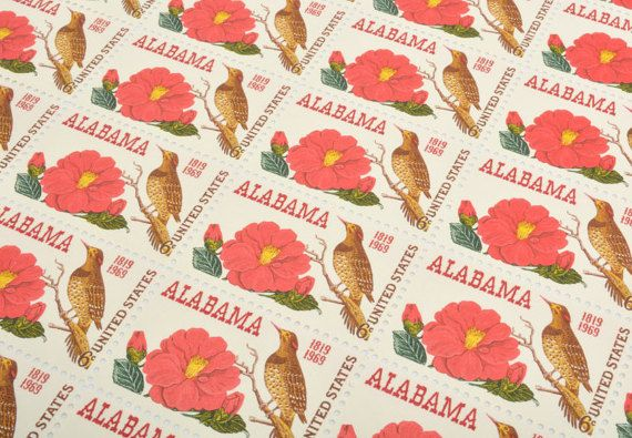 Alabama Statehood Camellia Yellowhammer Postage Stamps - 6 cents - Vintage 1969 - Unused - Quantity of 30