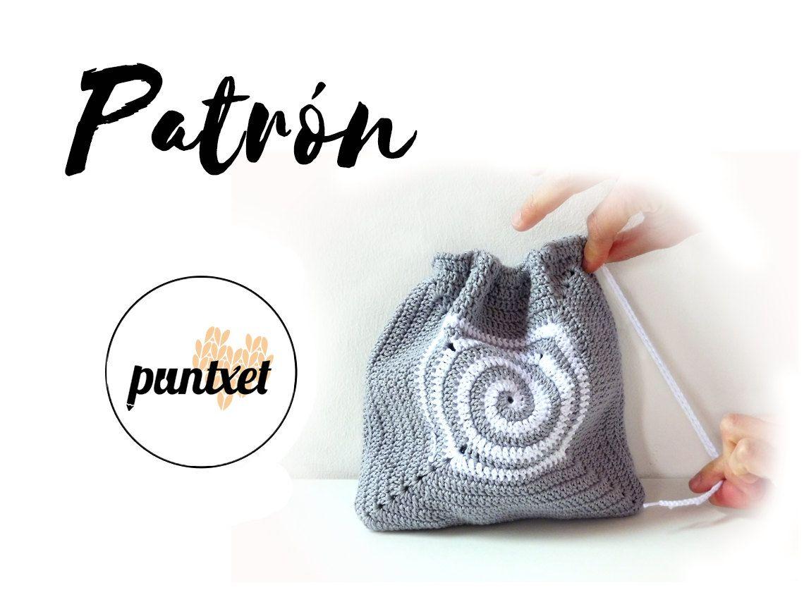 Patrón de bolsa de ganchillo con detalle en espiral | Crochet and ...