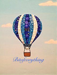 Hot air balloon button & bead art on canvas