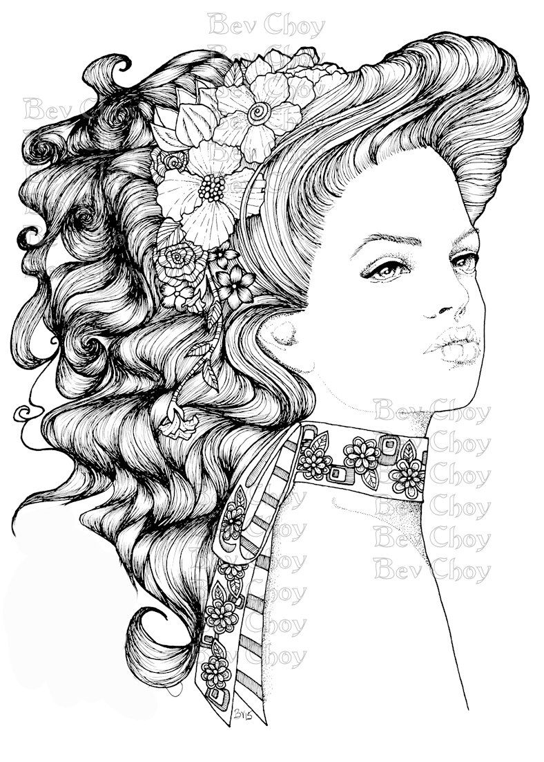 Adult Coloring Page Daphne By Bevchoyart On Etsy Coloring