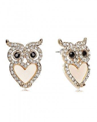 Heart Belly Rhinestone Owl Earrings Studs