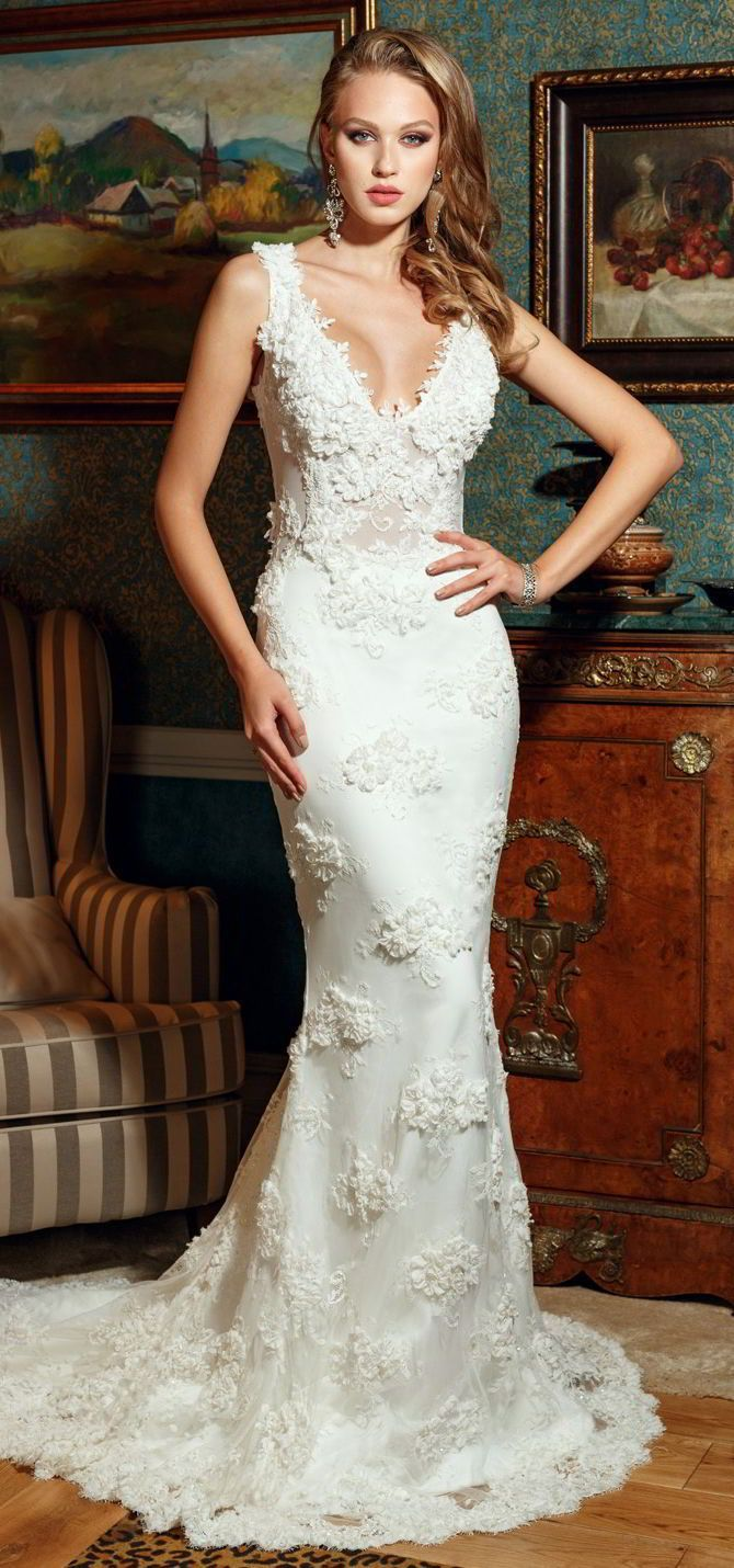 Aline wedding dresses this exquisite bridal gown has a plunge