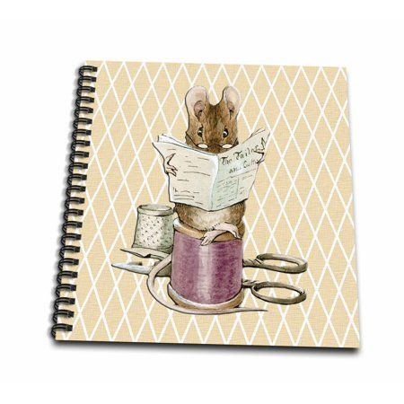 3drose Sewing Mouse- Vintage Art- Animals – Mini Notepad, 4 by 4-inch