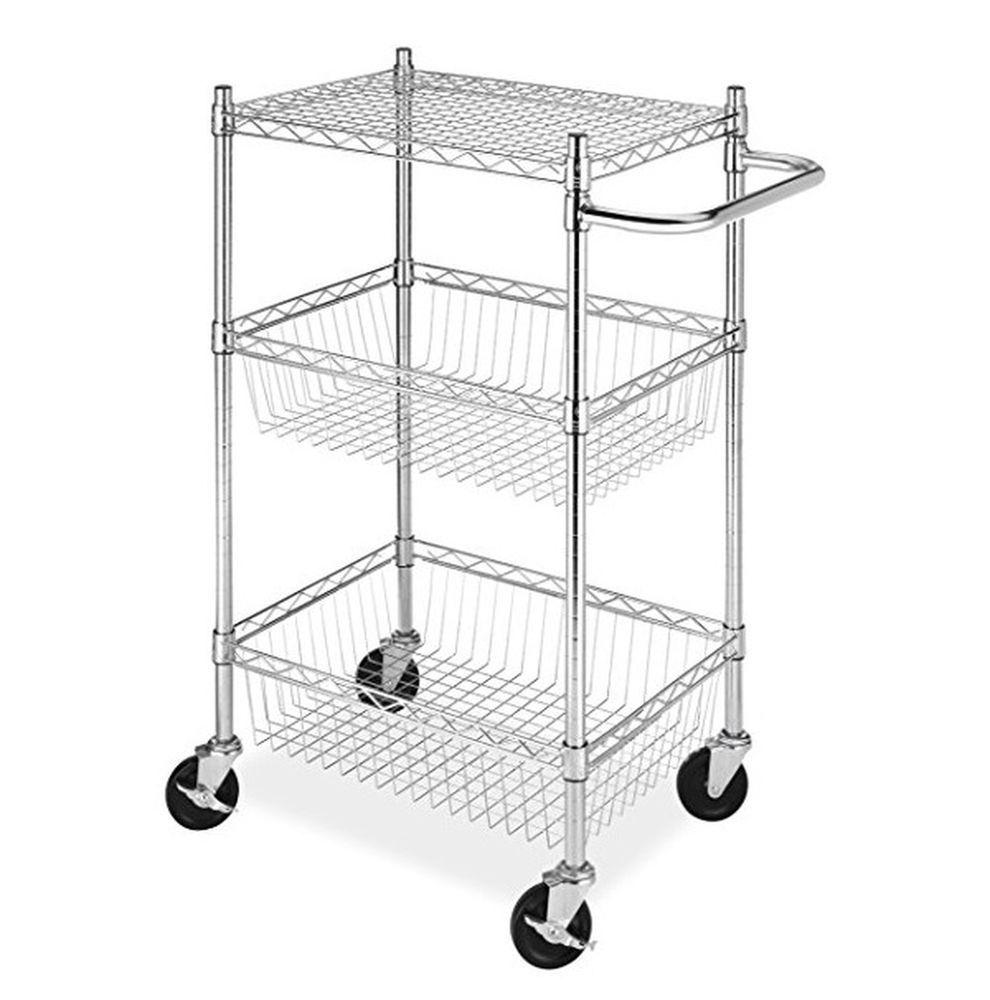 Commercial 3 Tier Portable Rolling Basket Cart Storage Chrome