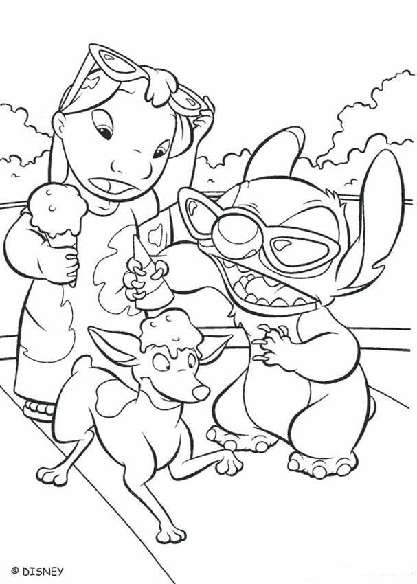 Lilo And Stitch Coloring Pages Lilo And Stitch Eating An Ice Cream Stitch Coloring Pages Cute Coloring Pages Cool Coloring Pages