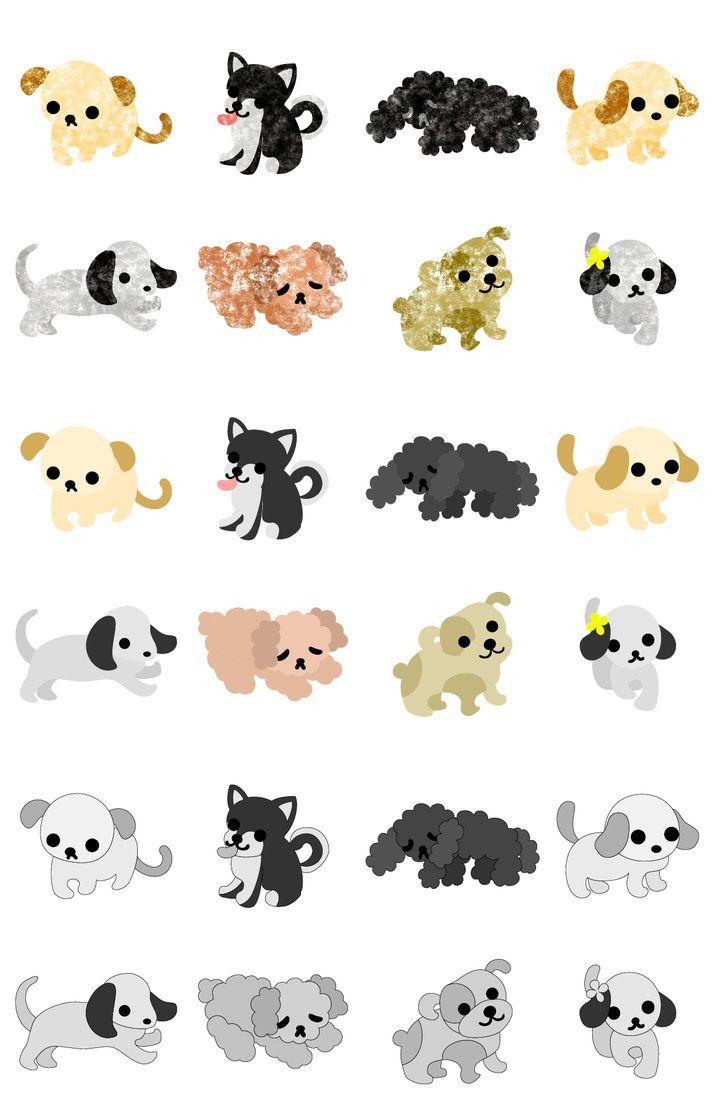 フリーのイラスト素材「可愛い子犬のアイコン / the icons of pretty