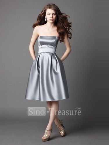 Silver satin strapless princess knee length ruffle for Silver satin wedding dress