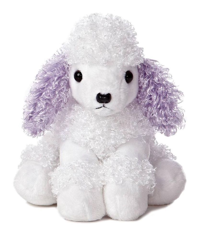 8 aurora plush white purple poodle puppy dog mini