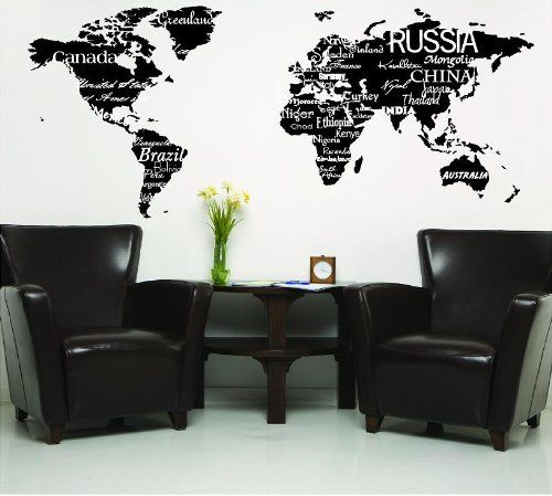 World map with countries black wall saying vinyl lettering home world map with countries black wall saying vinyl lettering home decor decal stickers quotes wall sayings gumiabroncs Choice Image