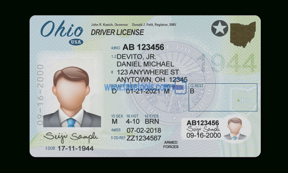 Ohio Driver License Psd Template With Regard To Blank Drivers License Template Best Professional Drivers License Professional Templates Driver License Online