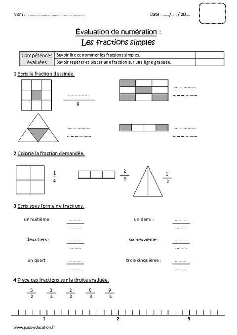 Fractions simples - Cm1 - Bilan à imprimer en 2020 ...