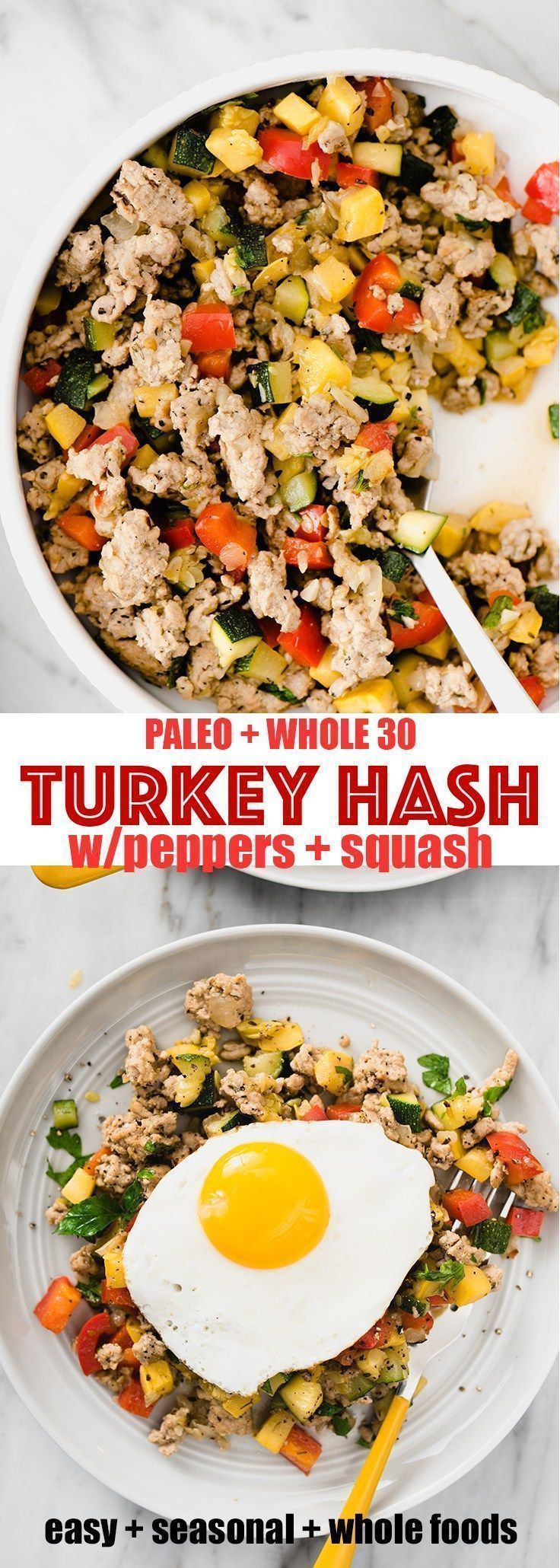 Paleo and Whole30 Ground Turkey Hash with Squash and Peppers