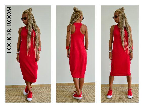 Red Dress / Midi Dress / Party Dress / Casual red dress /Open back dress/Tube dress
