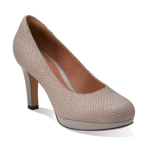 Womens Shoes Clarks Delsie Bliss Light Grey Snake Nubuck