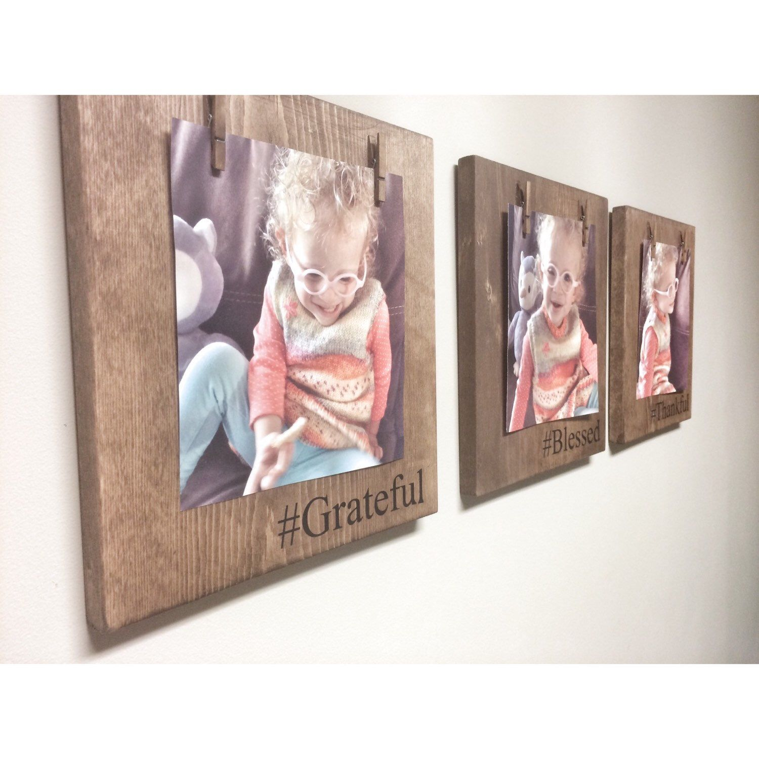 Three Rustic Wooden Picture Frames, Rustic Frame, Clothespin Picture ...