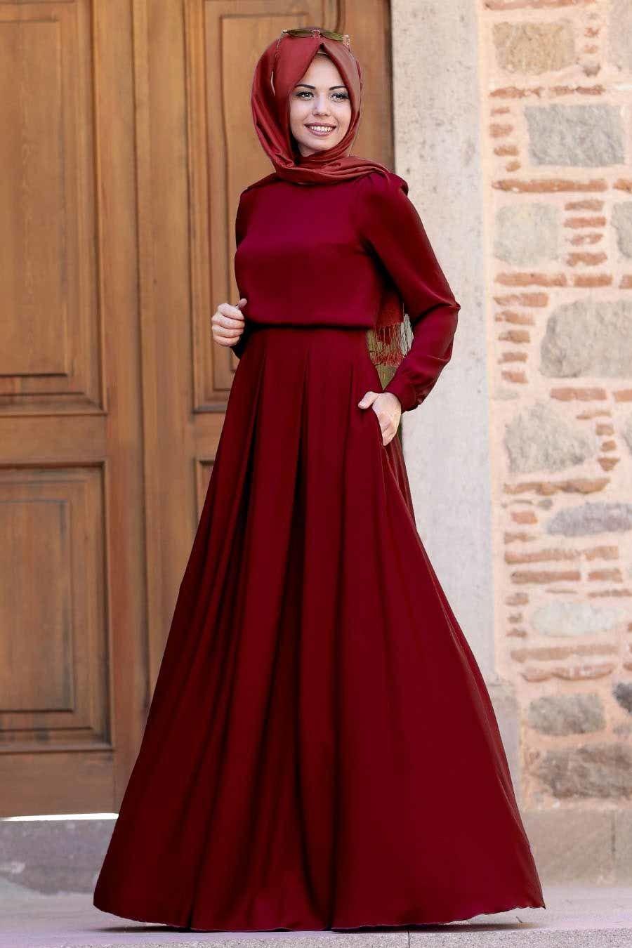 Tesetturlu Abiye Elbise Gulce Bordo Tesettur Abiye Elbise 6753br Elbise Elbiseler Islami Giyim