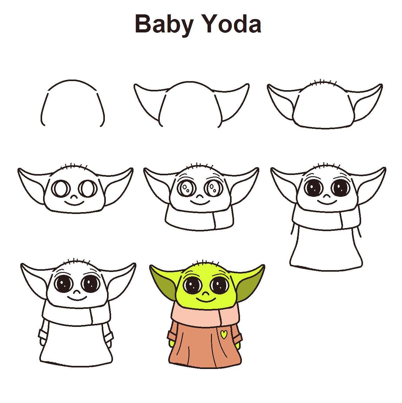 Babyyodawallpaper Mandalorian Stepbystep Tutorial Baby Yoda Draw From Star Wars The To Baby Easy Doodles Drawings Cute Easy Drawings Easy Drawings