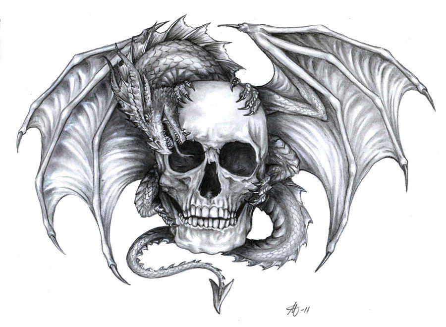 Dragon and Skull Tattoo Designs | Inked | Pinterest ...
