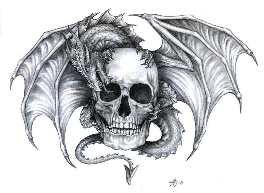 dragon and skull tattoo designs tattoos pinterest tatuajes boceto de tatuaje y dragones. Black Bedroom Furniture Sets. Home Design Ideas