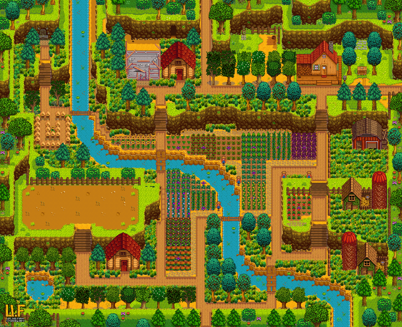Farm plan render Stardew valley layout, Farm layout