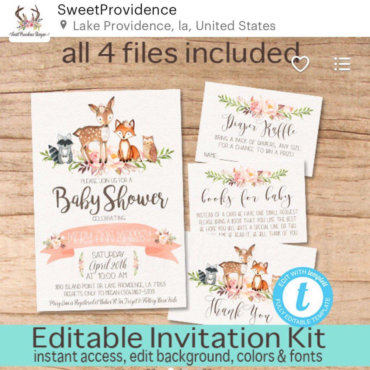 Woodland Animals Floral Invitation Set, Editable Baby Shower ...