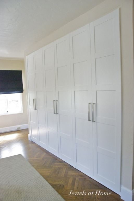 Ikea Pax wardrobes used as built-in closets.-just frame with drywall ...