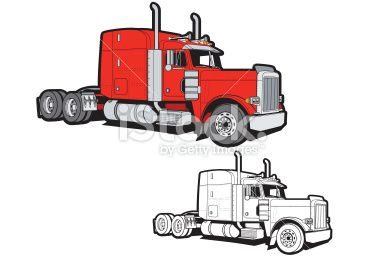 A 3 4 View Illustration Of A Semi Truck One Color Version Also