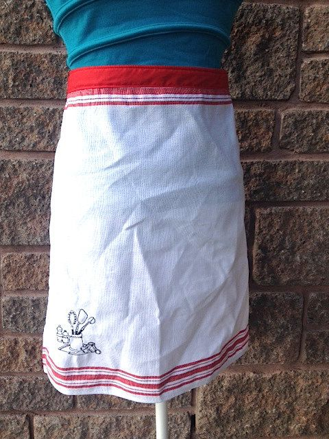 Half Apron Tea Towel Red And White Fabric By