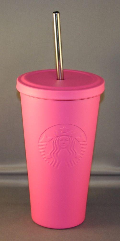 2015 starbucks matte hot pink stainless steel cold grande siren tumbler NWT  #Starbucks