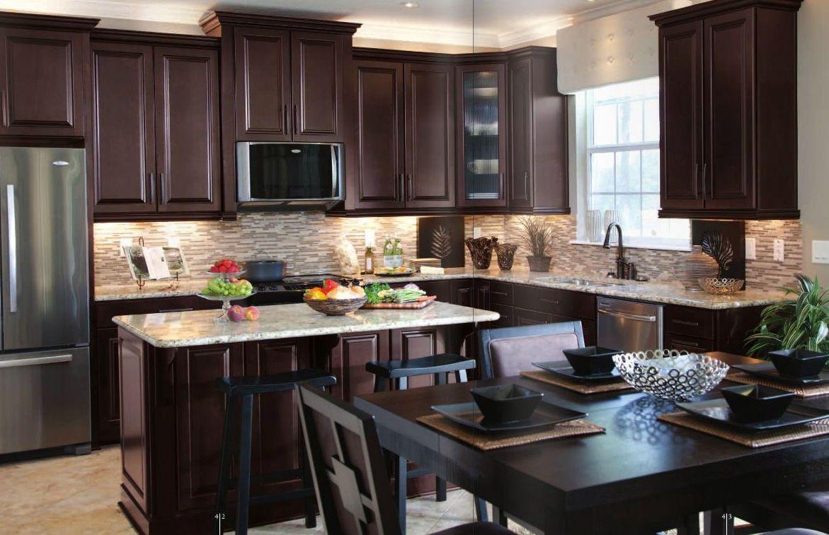 Dark Kitchen With Brown Cabinet Also Small Island White Santa Cecilia Granite Dark Brown Kitchen Cabinets Brown Kitchen Cabinets Cherry Wood Kitchen Cabinets