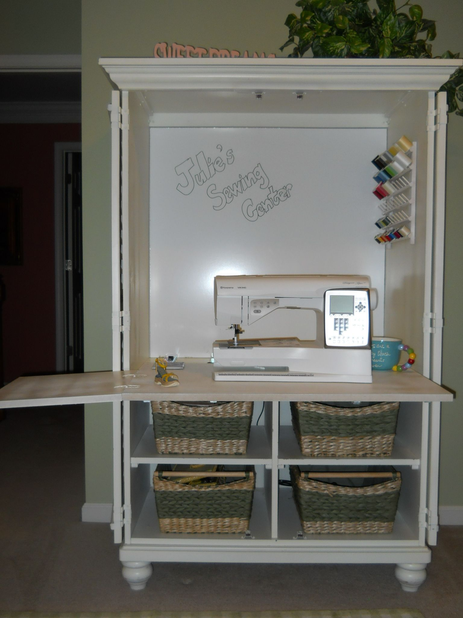 An Old Tv Cabinet Was Repurposed Into A Sewing Center Love It Or For Sbooking Crafting
