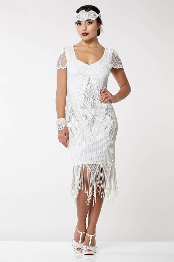 US20 UK24 AUS24 EU52 Plus Size White Annette 20s Flapper ...