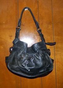 B Makowsky Black Leather Handbag Purse My Birthday Is Coming Hint