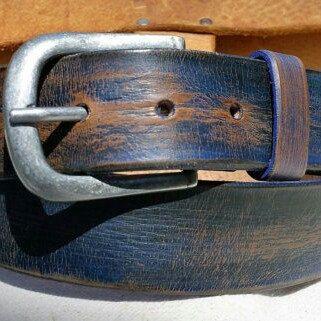 Men S Belt Blue Leather Wide Mens