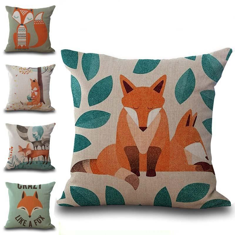 Carton Fox Mama Pillow Case Cushion Cover Linen Cotton