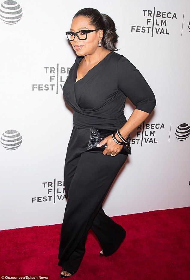 b918031c96 Oprah Winfrey parades her diet success in slimming jumpsuit at Tribeca