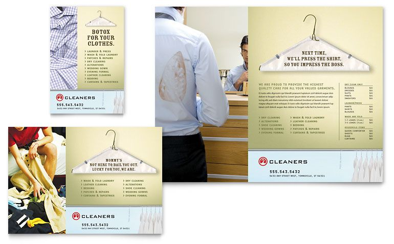 Laundry  Dry Cleaners  Flyer  Ad Template Design  Advertising