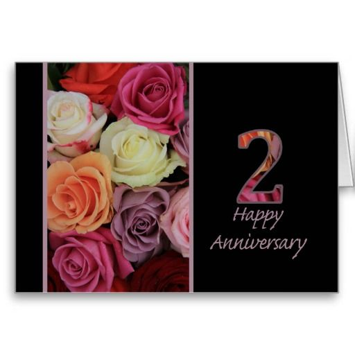 Happy 2nd Anniversary roses Card