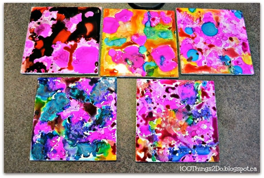 Teens SRP – July 2016 – Ceramic Tile Art (Create one-of-kind art using alcohol inks on ceramic tile.) – Waynedale, 5th, 2:30; Woodburn, 13th, 4:00; Little Turtle, 21st, 3:30; Dupont, 28th, 3:00.