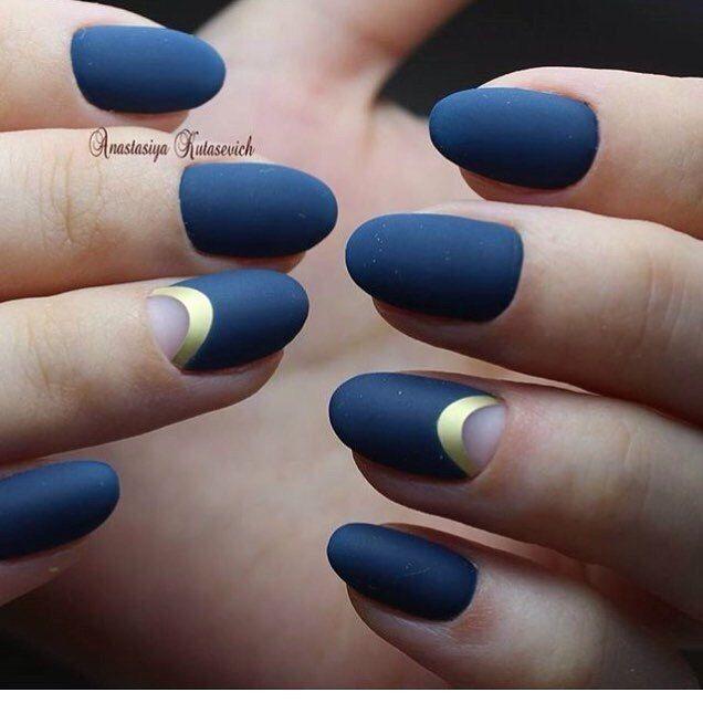 Image Result For Navy Gold Half Moon Nails Blue Matte Nails Gold Nails Navy Nails