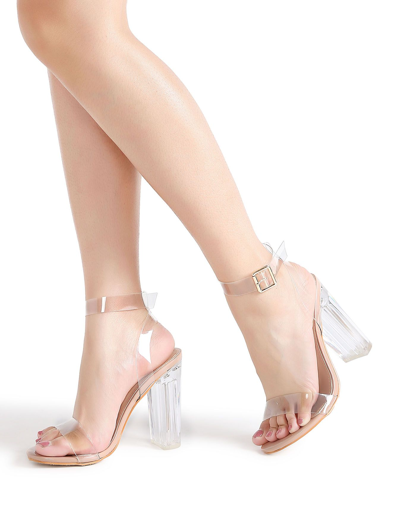 14f789bb7ec Shop Ankle Strap Chunky Heeled Clear Sandals online. SheIn offers Ankle  Strap Chunky Heeled Clear Sandals   more to fit your fashionable needs.