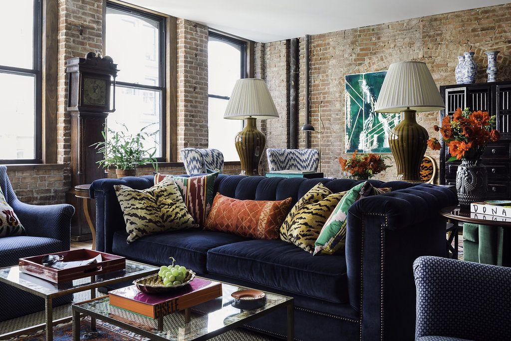Lofty Goals Blue Sofas Living Room Brick Living Room Chesterfield Sofa Living Room