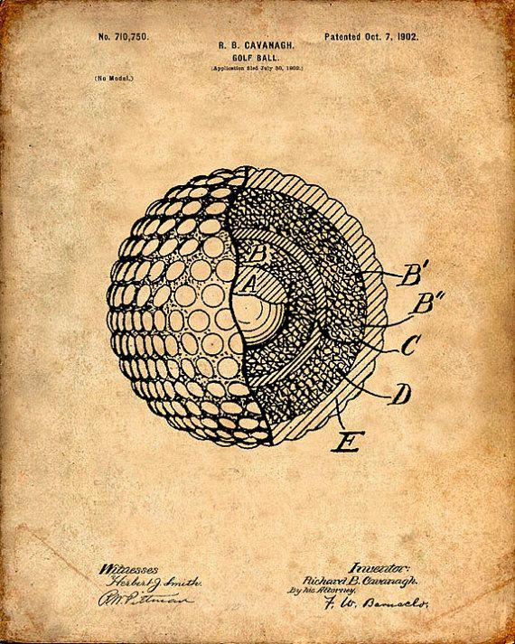 Golf Ball Patent Print Golf Ball Art Print Golf, Printing and - best of golf blueprint art