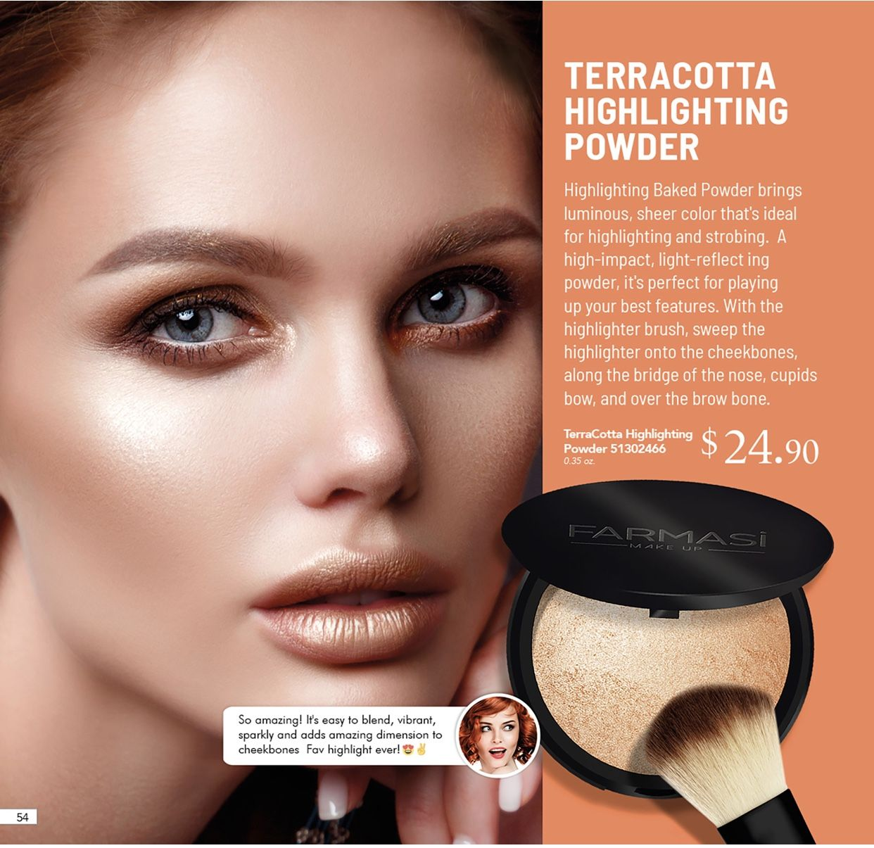 Terracotta baked powder Highlighter brush, Powder makeup