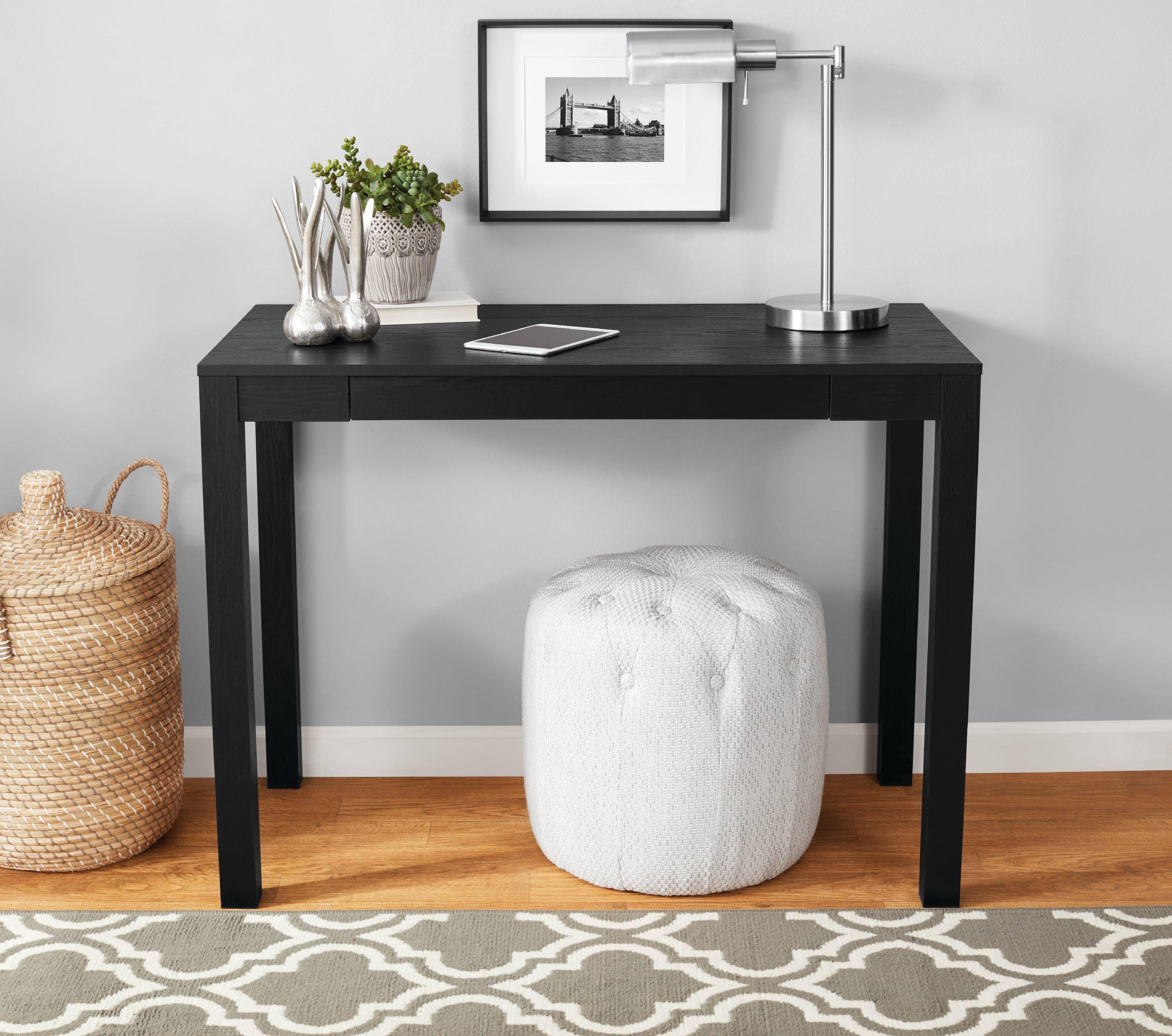 Mainstays Parsons Desk With Drawer Black Oak Walmart Com In 2020 Desk With Drawers Desk Storage Parsons Desk