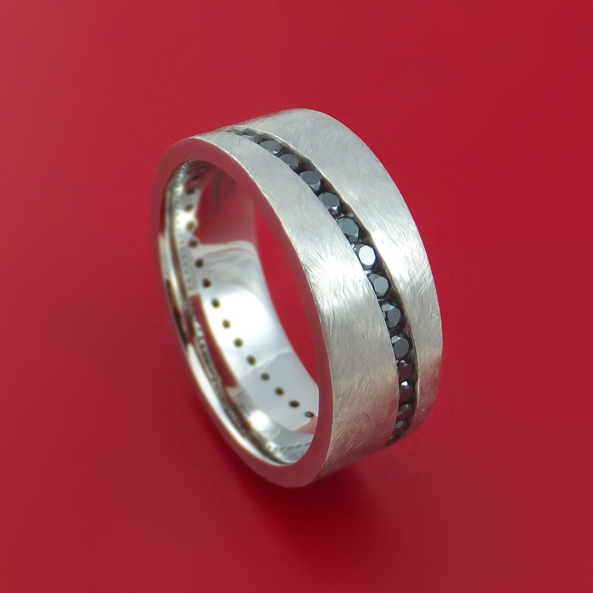 Cobalt Chrome and Black Diamonds Eternity Ring Custom Made